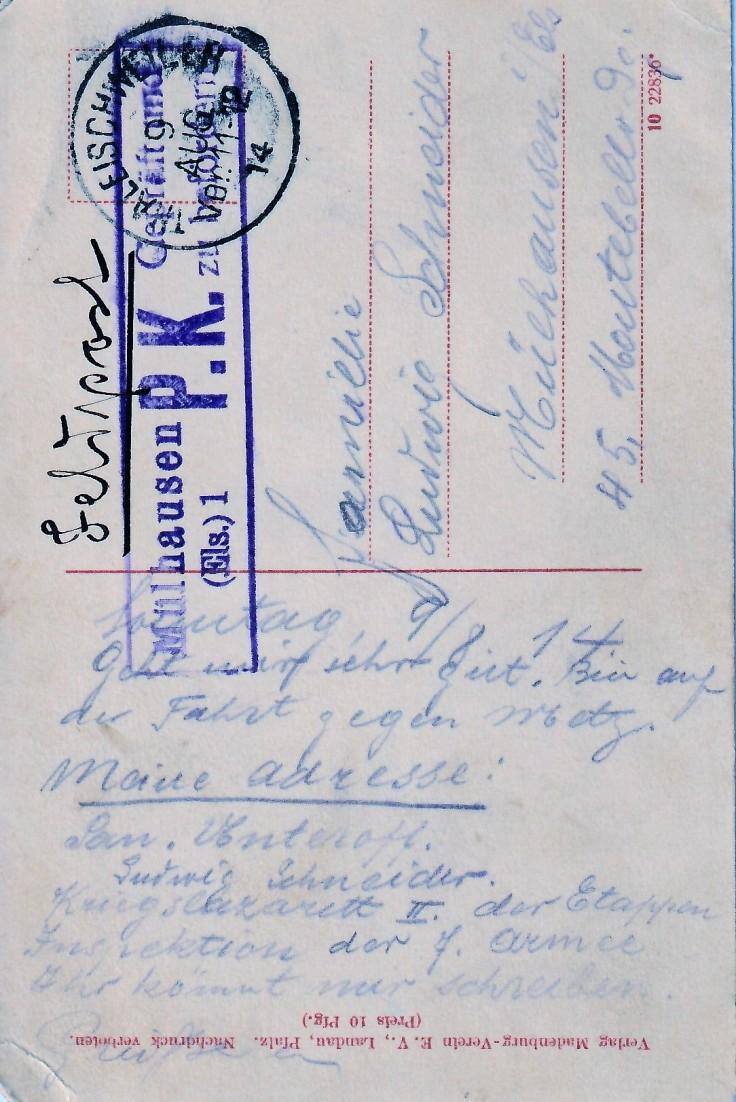 1914.08.09 B Madenburg bei Landau