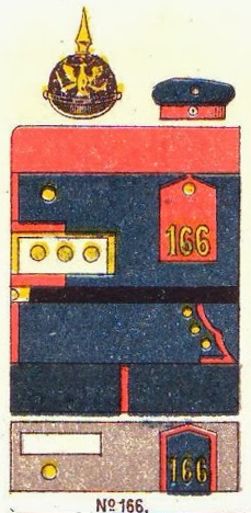 Farbschema_der_Uniform,_Infanterie-Regiment_Nr._166,_Die_Uniformen_der_deutschen_Armee,_Ruhl,_Tafel_8