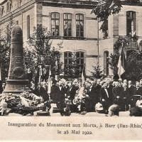 1922 : Inauguration du monument aux morts de Barr